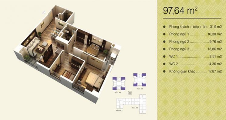 Chính chủ bán căn 02 tòa V4 chung cư Hom City 177 Trung Kính, DT 97,64m2 - LH: 0963002881